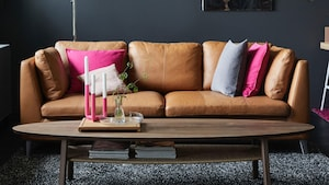 Leather three-seat sofas