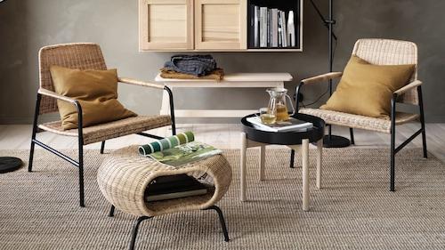 Rattan footstools & pouffes